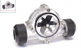 Bitspower Flow Indicator Bp-fi-clbkmbk With Transparent Body And Matte Black Fittings. True