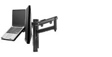Atdec AWM Dual monitor arm solution - dynamic arms  - 135mm post - bolt - black with a note book tray (AWMS-2-ND13B-B)