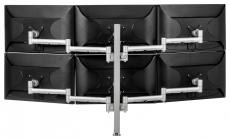 Atdec Six Monitor Arm 750mm Post Desk Mount. Max load: 0-9kg per arm (12kg middle arm) - Silver AWMS-6-13717-S