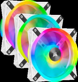 Corsair QL120 RGB White Triple Fan Kit with Lighting Node Core, ICUE, 120mm RGB LED PWM Fan 26dBA, 41.8 CFM, 3 Fan Pack (CO-9050104-WW)