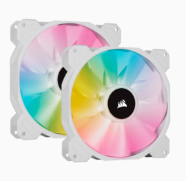 Corsair White SP140 RGB ELITE, 140mm RGB LED Fan with AirGuide, Dual Pack with Lighting Node CORE CO-9050139-WW