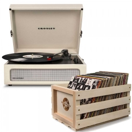 Crosley Voyager Portable Turntable - Dune + Free Record Storage Crate Cr8017A-Du4