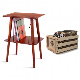 Crosley Record Storage Crate & Manchester Entertainment Center Stand Bundle Crac1004A-B2