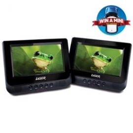 "Laser DVD Player Dual In Car 7"" with Bonus Pack (headrest mounts and earphones) DVD-PORT7-DUALC"