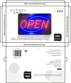 """Chosen Branded """" Open"""" Led Sign Board 56x33cm Elecho5633s"""