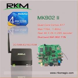 Rkm Mk902ii 16g Smart Tv Box Quad Core Rk3288 Android 4.4 2g 16g Wifi Bt4.0 Elerkmmk902ii16g