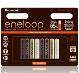 Panasonic Limited Edition Chocolat Eneloop 8 Pack Aaa Rechargable Batteries 800mah Pre-charged, Low Self Discharge
