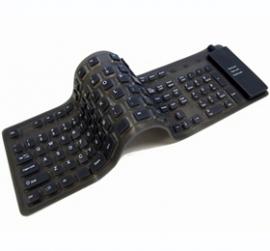 Usb Foldable Waterproof Silicone Soft Keyboard W/ 109 Keys Black