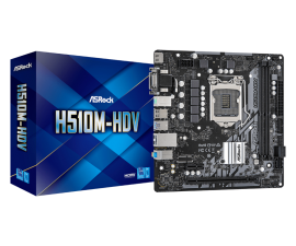 ASRock H510M-HDV Motherboard H510 Micro-ATX: Socket 1200 For Intel 11th/10th Gen. Processors 2 x DDR4 DIMM Slots,