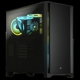 Corsair CC-9011198-WW Mid-Tower Case: 4000D - Black 2x 120mm AirGuide fan, USB 3.0, USB-C, Audio/Microphone port, Tempered Glass Panel