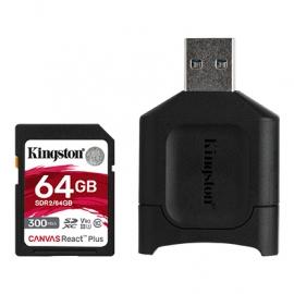 Kingston 64GB SDXC React+ SDR2 300R/260W UHS-II+MLP SD Reader (MLPR2/64GB)