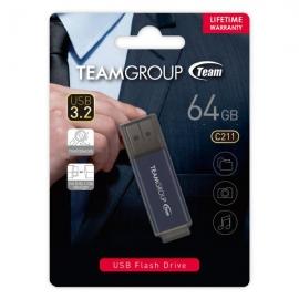 TEAM C211 USB3.2 Gentleman Grey Flash 64GB Lifetime Warranty TC211364GL01