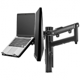 Atdec AWM Dual monitor arm solution - dynamic arms - 135mm post - Grommet - black with a note book tray (AWMS-2-ND13G-B)