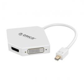 Orico White Dmp-hdv3s Mini Displayport To Hdmi, Vga & Dvi Display Adapter Orc-dmp-hdv3s-wh