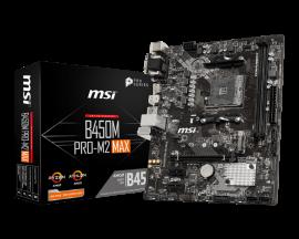 MSI B450M PRO-M2 MAX mATX Motherboard: B450 Socket AM4 For AMD Ryzen Processors 2x DDR4,