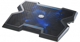 """CoolerMaster NotePal X3, with silent 20cm fan, Blue LED indicator, Up to 17"""" laptop support, front"""