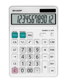 Sharp 12 DIGIT DUAL POWERED TILT 4 MEMORY TAX MARK UP DESKTOP CALCULATOR - WHITE EL340WB