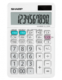 Sharp 10 DIGIT DUAL POWERED ANGLED 4 MEMORY TAX COST SELL MARGIN CURRENCY CONVERSION DESKTOP CALCULATOR - WHITE EL330WB