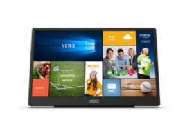 AOC 15.6 inch IPS, USB-C, 10-point Touch, Auto Pivot Portable Monitor 16T2 USB-C HDMI INPUT BUILT-IN SPEAKERS 8000MAH BATTERY WALL-MOUNT 50X50MM