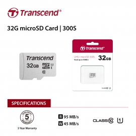 Transcend 32Gb Uhs-I U1 Microsd W/ O Adapter (Microsdhc I C10 U1) (FFCTRATS32GUSD300S-1)