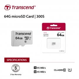 Transcend 64Gb Uhs-I U1 Microsd W/ O Adapter (Microsdhc I C10 U1) (FFCTRATS64GUSD300S-1)