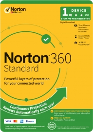 Norton 360 Standard, 10GB, 1 User, 1 Device, 12 Months, PC, MAC, Android, iOS 21396438