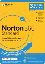 Norton 360 Standard, 10GB, 1 User, 3 Devices, 12 Months, PC, MAC, Android, iOS 21396503