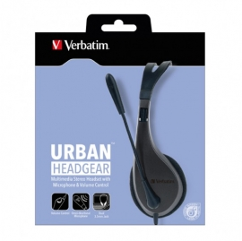 Verbatim Multimedia Headset with Microphone - Wide Frequency Stereo, 40mm Drivers 41646