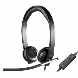 Logitech H650E Wired Headset Stereo With Noise Canceling Microphone Business Headband Led No Tangle Cable 981-000545