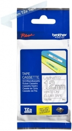 Brother 12MM WHITE ON CLEAR TZ TAPE (8VA91395221)