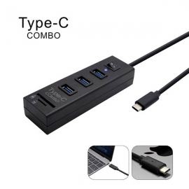 Ezcool Type C Usb3.1 Hub For Apple Pc 3 Port With Switch + Card Reader Combo Usbinthub3pswu31cr
