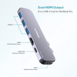 Mbeat Elite Mini 6-In-1 Dual Hdmi Usb-C Hub For Macbook Pro Mb-Ucd-P8