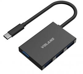 Volans Slim Aluminium Usb Type-C Usb-C To 4-Port Usb3.0 Hub (Hb04-C) Vl-Hb04S-C