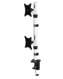 "Visionmount Deskclamp Aluminium Dual Vertical Lcd Monitor Arm Support Up To 27"", Tilt, Swivel"