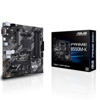 ASUS AMD B550 PRIME B550M-K (Ryzen AM4) mATX MB, Dual M.2, PCIe 4.0, 1Gb Ethernet, HDMI/D-Sub/DVI, SATA 6Gbps, USB 3.2 Gen 2 A (PRIME B550M-K)