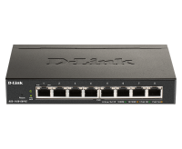D-Link 8-Port Smart Managed Switch with 8 PoE+ ports. PoE budget 64W. DGS-1100-08PV2
