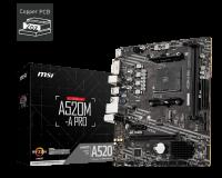 MSI A520M-A Pro Motherboard Supports AMD Ryzen™ 5000 & 3000 Series desktop processors and AMD Ryzen™ 4000 G-Series desktop processors